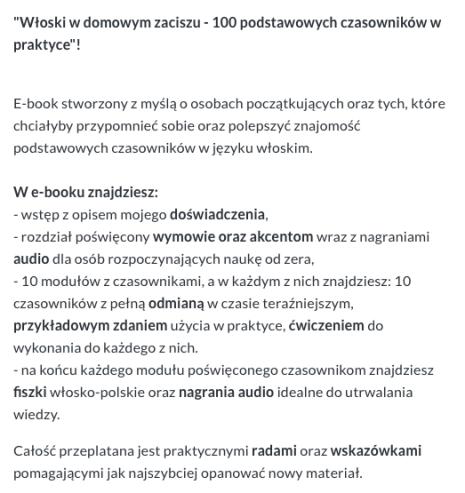E-book włoski do nauki języka - opis
